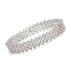 C. 1980 Vintage 8.40 ct. t.w. Diamond Mesh-Style Bracelet in 18kt White Gold, , default