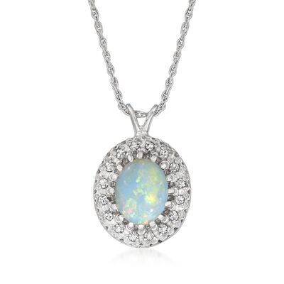 C. 1980 Vintage Opal and .20 ct. t.w. Diamond Pendant Necklace in 14kt White Gold