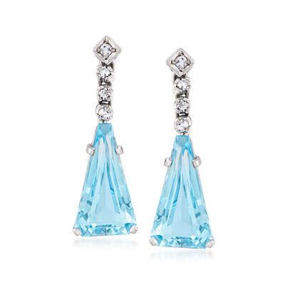C. 1960 Vintage 6.40 ct. t.w. Aquamarine and .16 ct. t.w. Diamond Drop Earrings in 10kt White Gold