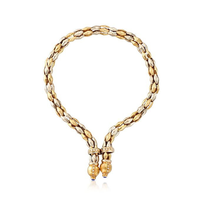 C. 1990 Vintage 18kt Two-Tone Gold Y-Necklace with Blue Synthetic Spinel and .75 ct. t.w. CZs