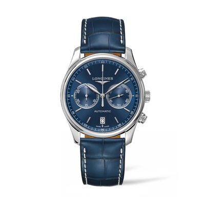 Longines Master Men's 40mm Auto Chronograph Stainless Steel Watch with Blue Leather