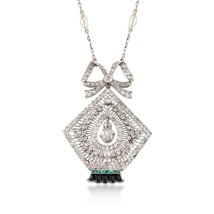 """C. 1935 Vintage 3.00 ct. t.w. Diamond and Black Onyx Necklace with Emeralds in Platinum and 14kt White Gold. 17"""""""