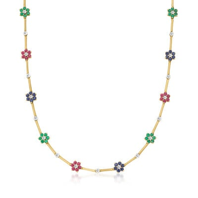 C. 1990 Vintage 6.35 ct. t.w. Multi-Gemstone Flower Station Necklace with .30 ct. t.w. Diamonds in 14kt Yellow Gold