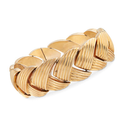 C. 1908 Vintage 14kt Yellow Gold Chevron Bracelet