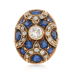 C. 1950 Vintage 3.00 ct. t.w. Sapphire and 1.20 ct. t.w. Diamond Ring in 14kt Yellow Gold, , default