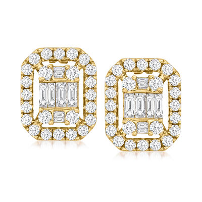 C. 1990 Vintage 1.50 ct. t.w. Baguette and Round Diamond Earrings in 18kt Yellow Gold