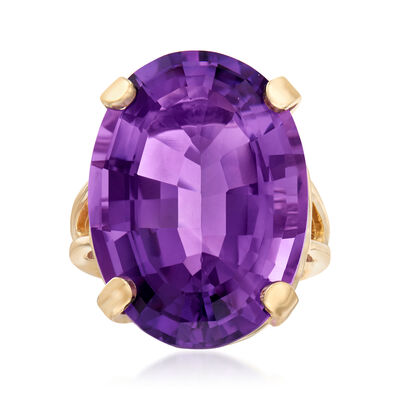 C. 1960 Vintage 45.00 Carat Amethyst Ring in  14kt Yellow Gold