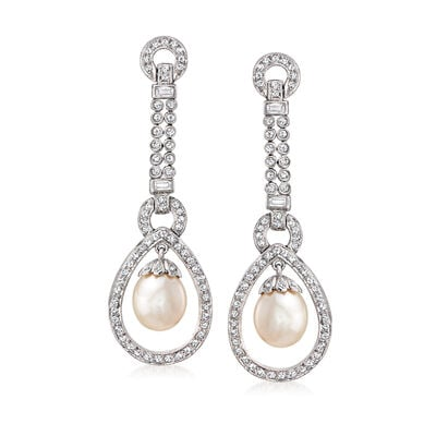 C. 1990 Vintage 10x8mm Cultured Pearl Drop Earrings with 1.85 ct. t.w. Diamonds in 18kt White Gold