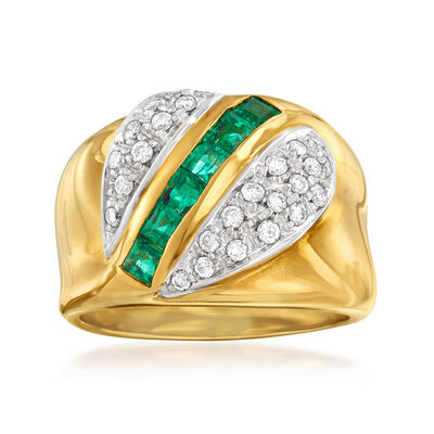 C. 1980 Vintage .60 ct. t.w. Emerald and .40 ct. t.w. Diamond Ring in 18kt Yellow Gold
