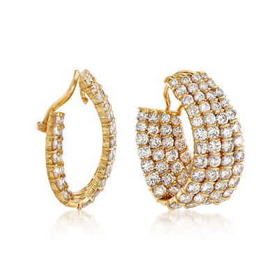 C. 1980 Vintage 14.38 ct. t.w. Diamond Multi-Row Clip-On Earrings in 18kt Yellow Gold