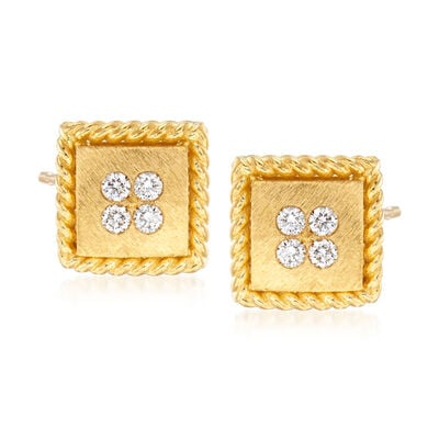 "Roberto Coin ""Palazzo Ducale"" Diamond-Accented Stud Earrings in 18kt Yellow Gold, , default"