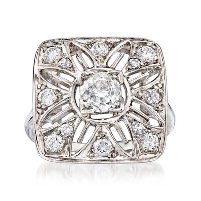 C. 1950 Vintage 1.05 ct. t.w. Diamond Cut-Out Flower Ring in Platinum, , default