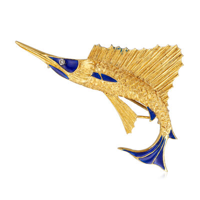 C. 1970 Vintage 18kt Yellow Gold Marlin Fish Pin, , default