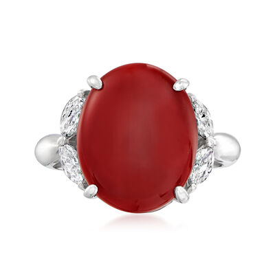 C. 1990 Vintage Red Coral Ring with .46 ct. t.w. Diamonds in Platinum