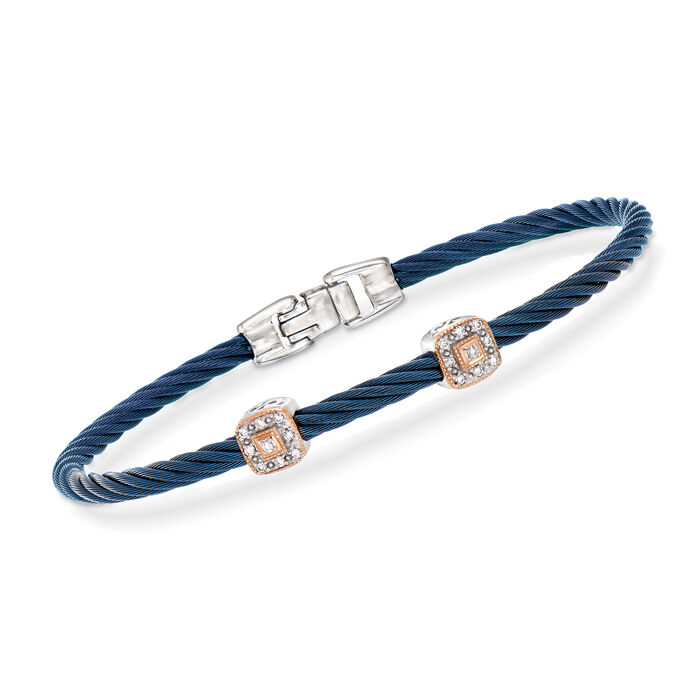"""ALOR """"Shades of Alor"""" Blue Stainless Steel Cable Station Bracelet with Diamond Accents and 18kt White and Rose Gold"""