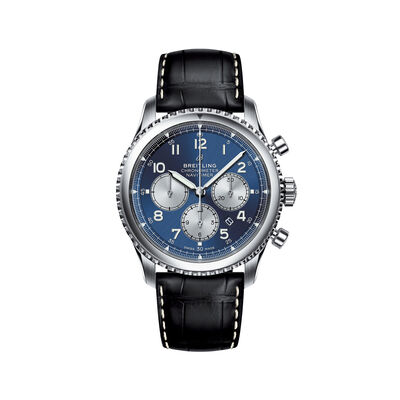 Breitling Navitimer 8 B01 Chronograph Men's 43mm Stainless Steel Watch - Blue Dial and Black Leather Strap, , default
