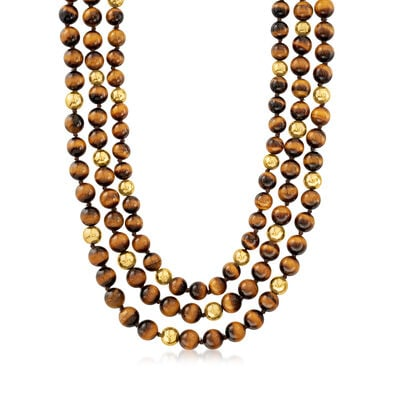 C. 1970 Vintage Tigereye Multi-Strand Beaded Necklace with 14kt Yellow Gold