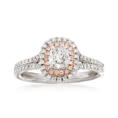 Henri Daussi .78 ct. t.w. White and Pink Diamond Engagement Ring in 14kt Two-Tone Gold