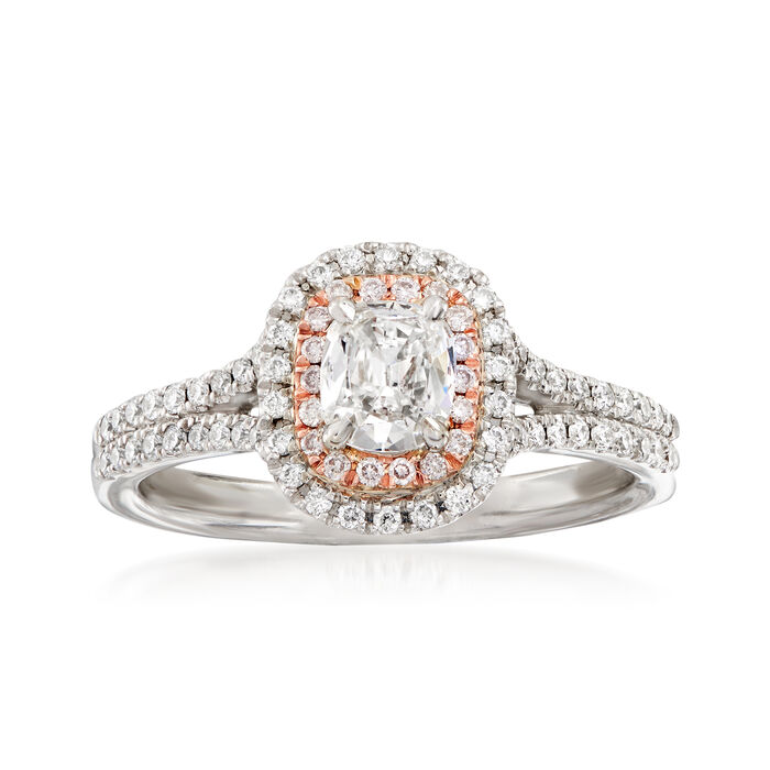 Henri Daussi .78 ct. t.w. White and Pink Diamond Engagement Ring in 14kt Two-Tone Gold. Size 6.5, , default