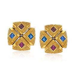 C. 1990 Vintage 1.80 ct. t.w. Ruby and 1.80 ct. t.w. Sapphire Clip-On Earrings in 18kt Yellow Gold, , default
