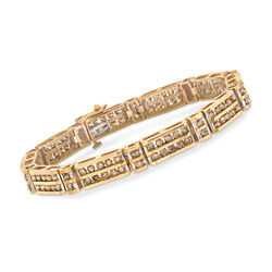 C. 1990 Vintage 6.00 ct. t.w. Champagne Diamond Bracelet in 10kt Yellow Gold, , default