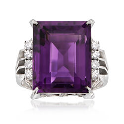 C. 1960 Vintage 10.30 Carat Amethyst and .23 ct. t.w. Diamond Dinner Ring in Platinum, , default