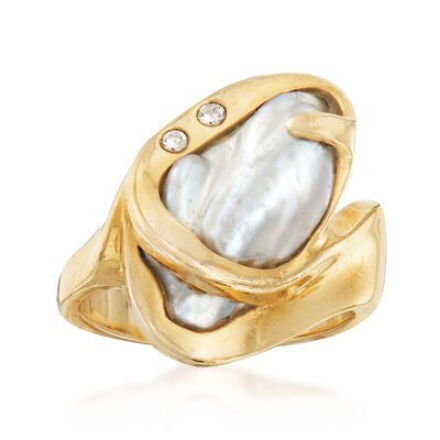 C. 1980 Vintage 17x9mm Cultured Baroque Pearl Ring With Diamond Accents in 14kt Yellow Gold, , default