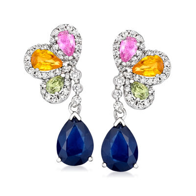 5.50 ct. t.w. Multicolored Sapphire and .62 ct. t.w. Diamond Drop Earrings in 14kt White Gold