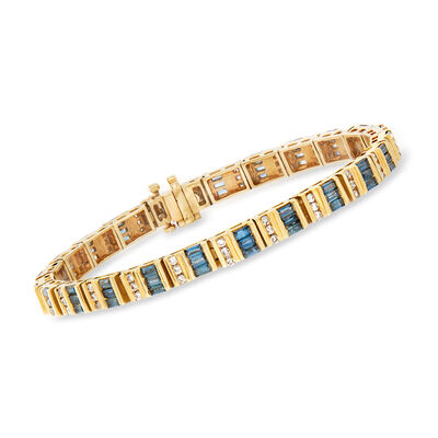 C. 1990 Vintage 5.25 ct. t.w. Blue and White Diamond Bracelet in 14kt Yellow Gold, , default