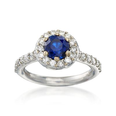 C. 1990 Vintage 1.50 Carat Sapphire and And .80 ct. t.w. Diamond Halo Ring in 14kt White Gold, , default