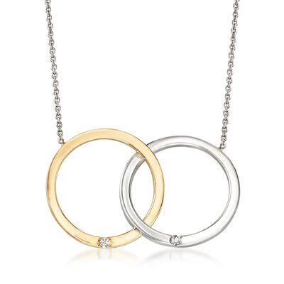 Roberto Coin 18kt Two-Tone Gold Double Circle Necklace with Diamond Accents, , default