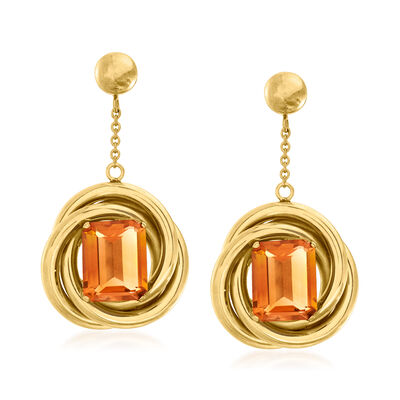 C. 1950 Vintage 6.90 ct. t.w. Citrine Circle Drop Earrings in 14kt Yellow Gold