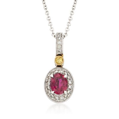 Simon G. .54 Carat Ruby and .14 ct. t.w. Diamond Pendant Necklace in 18kt Two-Tone Gold, , default