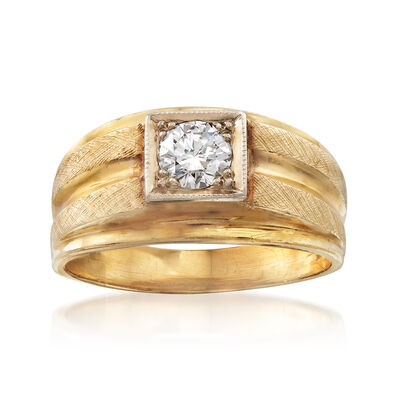 C. 1970 Vintage .60 Carat Diamond Ring in 14kt Yellow Gold, , default