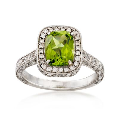 C. 2000 Vintage 1.50 Carat Peridot and 1.10 ct. t.w. Diamond Ring in Platinum, , default