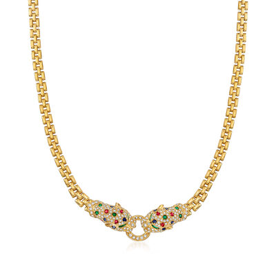 C. 1980 Vintage 1.85 ct. t.w. Multi-Gemstone and 1.70 ct. t.w. Diamond Panther Head Necklace in 18kt Yellow Gold, , default