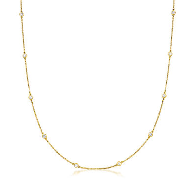 C. 1990 Vintage 1.30 ct. t.w. Diamond Station Necklace in 18kt Yellow Gold