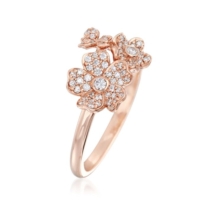 "Mikimoto ""Cherry Blossom"" .23 ct. t.w. Diamond Floral Ring in 18kt Rose Gold"