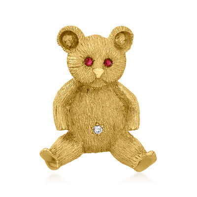 C. 1980 Vintage 18kt Yellow Gold Teddy Bear Pin with .10 ct. t.w. Ruby and Diamond Accent