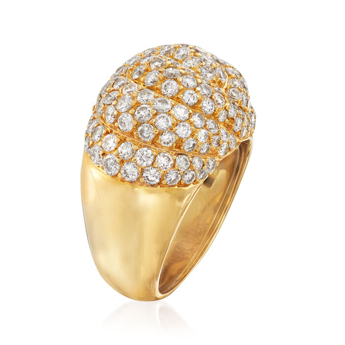 C. 1990 Vintage Piaget 3.50 ct. t.w. Diamond Dome Cocktail Ring in 18kt Yellow Gold