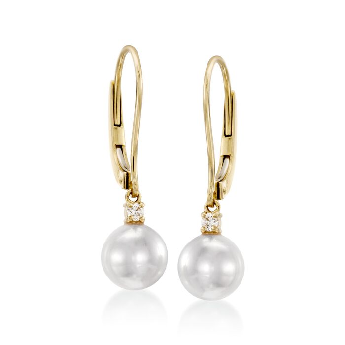 Mikimoto Akoya Pearl and Diamond Drops in 18-Karat Yellow Gold, , default