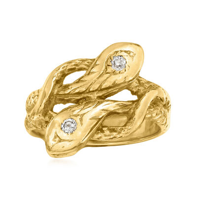 C. 1970 Vintage .10 ct. t.w. Diamond Double- Snake Ring in 14kt Yellow Gold