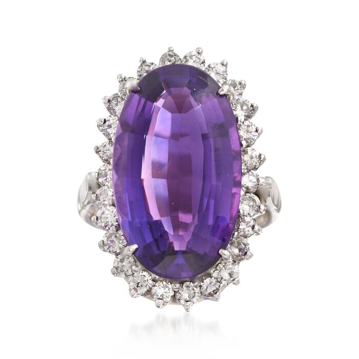 C. 1990 Vintage 12.50 ct. t.w. Amethyst and 1.30 ct. t.w. Diamond Ring in 14kt White Gold. Size 7.5