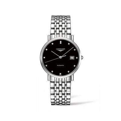 Longines Elegant Men's 37mm Automatic Stainless Steel Watch with Diamond Accents
