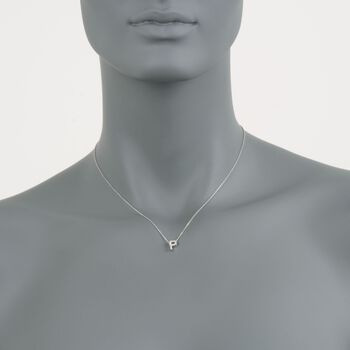 Roberto Coin Tiny Treasures Diamond P Necklace in 18-Karat White Gold. 16""