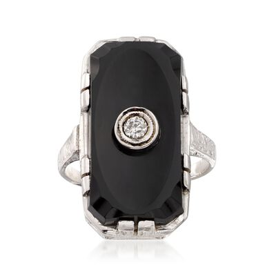 C. 1950 Vintage Black Onyx and Diamond Accent Ring in 18kt White Gold, , default