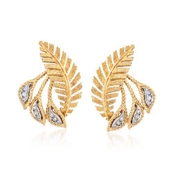 C. 1970 Vintage .20 ct. t.w. Diamond Leaf Clip-On Earrings in 18kt Yellow Gold , , default