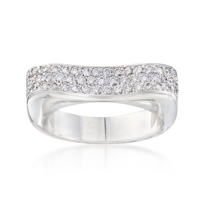 C. 1990 Vintage 1.05 ct. t.w. Pave Diamond Ring in 18kt White Gold. Size 5.75