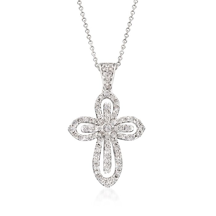 "Simon G. .79 Carat Total Weight Diamond Cutout Cross Necklace in 18-Karat White Gold. 18"", , default"
