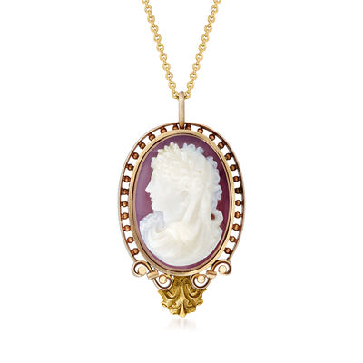 C. 1950 Vintage Red Agate Cameo Pendant Necklace in 14kt Yellow Gold